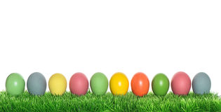 Easter eggs in green grass holidays banner Royalty Free Stock Images