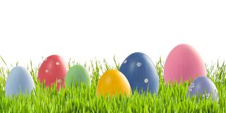 Easter eggs in green grass isolated stock photo