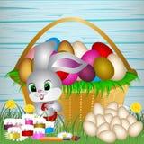 Easter eggs on the green grass. stock illustration
