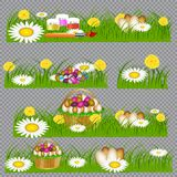 Easter eggs on the green grass. vector illustration