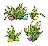 Easter eggs on the green grass. Seasonal holidays in April. Vector illustration Stock Photos