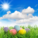 Easter eggs in green grass. Sunny blue sky Stock Image