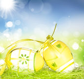 Easter eggs, green grass and sunny blue sky Stock Photos