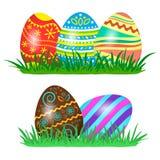 Easter eggs on green grass. Vector illustration stock illustration
