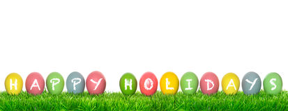 Easter eggs in green grass on white background Stock Images
