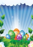 Easter eggs on a green meadow Royalty Free Stock Photography
