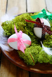 Easter eggs on green moss Royalty Free Stock Photos