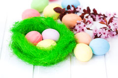 Easter eggs in green nest Royalty Free Stock Photography