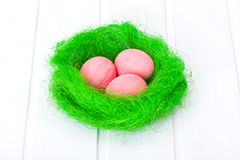 Easter eggs in green nest Royalty Free Stock Image
