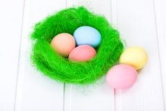 Easter eggs in green nest Stock Photo