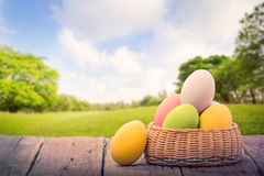 Easter eggs on green park Stock Photos