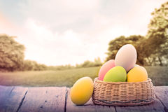 Easter eggs on green park Royalty Free Stock Image