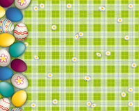 Easter Eggs Green Picnic Blanket Royalty Free Stock Photography