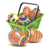 Easter eggs in green shopping basket. 3D Royalty Free Stock Images