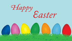 Easter eggs greeting. Happy Easter illustration greeting with multicolor eggs on grass Royalty Free Stock Photography