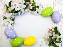 Easter eggs and greeting card Stock Photos