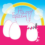 Easter eggs with greetings. Royalty Free Stock Images