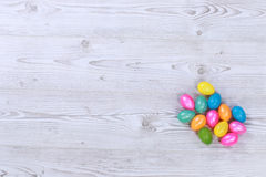 Easter eggs on grey wooden ground Royalty Free Stock Images