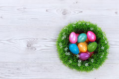 Easter eggs on grey wooden ground Stock Photos