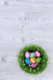 Easter eggs on grey wooden ground Stock Photography