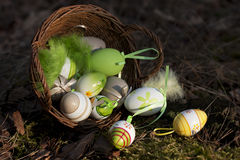 Easter eggs on  ground. Spring holidays concept Stock Photography