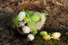 Easter eggs on  ground. Spring holidays concept Stock Images
