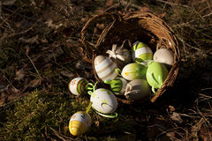Easter eggs on  ground. Spring holidays concept Royalty Free Stock Images