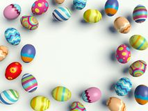 Easter eggs. Group of colorful Easter eggs. Decorative frame. 3d render illustration Stock Images