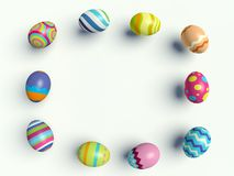Easter eggs. Group of colorful Easter eggs. Decorative frame. 3d render illustration Royalty Free Stock Photo