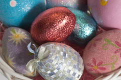 Easter Eggs. Grouped together in a basket Stock Photo