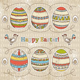 Easter eggs on grunge  background, vector Royalty Free Stock Images