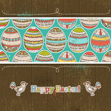 Easter eggs on grunge  wooden background, vector Stock Photos