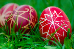Easter eggs , Húsvéti tojás. The Easter Eggs are painted during the week before Easter, being specific for the Orthodox / Roman catholic Church. The habit of Stock Photo