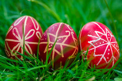 Easter eggs , Húsvéti tojás. The Easter Eggs are painted during the week before Easter, being specific for the Orthodox / Roman catholic Church. The habit of Stock Photography
