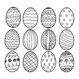 Easter eggs Hand drawn decorative elements in vector for coloring book. Black and white decorative pattern Royalty Free Stock Photos
