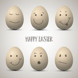 Easter eggs with hand drawn faces Stock Photography