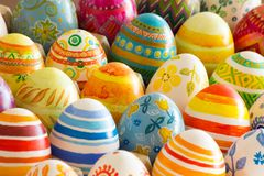 Easter eggs hand painted. Beautiful background of Easter eggs hand painted Stock Images