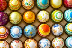 Easter eggs hand painted. Beautiful background of Easter eggs hand painted Royalty Free Stock Image