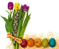 Easter eggs hand painted with a bouquet of flowers tulips, catkins. royalty free stock image