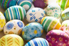 Easter eggs hand painted. Easter eggs handmade illuminated by bright sunlight Stock Photo