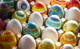 Easter eggs hand painted stock photo