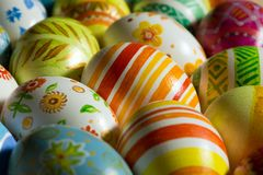 Easter eggs hand painted royalty free stock images