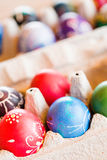 Easter eggs. Hand painted Ukrainian Easter eggs decorated with folk designs using a wax resist method Royalty Free Stock Photos