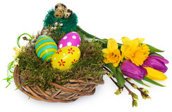 Easter eggs hand painted in a wicker wreath, bird`s nest of moss Royalty Free Stock Images