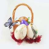 Easter eggs handmade. Easter egg in handmade basket for the holiday Stock Photography