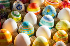 Easter eggs hand painted Stock Photography