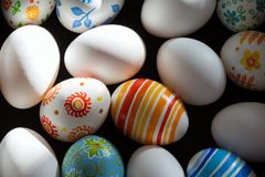 Easter eggs hand painted. Easter eggs handmade illuminated by bright sunlight Stock Image
