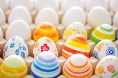 Easter eggs hand painted. Easter eggs handmade illuminated by bright sunlight Stock Images