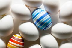 Easter eggs hand painted. Easter eggs handmade illuminated by bright sunlight Royalty Free Stock Photos
