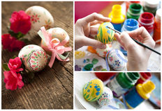 Easter eggs handmade. Wooden background Stock Photography
